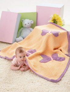 Caron Butterfly Blanket Free Knitting Pattern