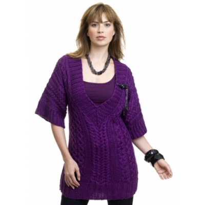 Caron Cabled Tunic Free Knitting Pattern for Women