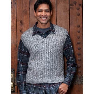 Caron Dad's Cabled Vest Free Knitting Pattern