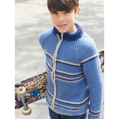 Caron Getting Cold Zip Jacket Free Knit Pattern for Boys