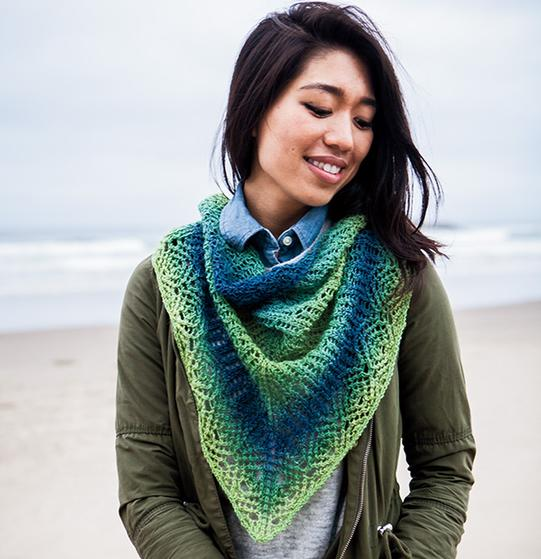 Caterpillar Shawlette Free Knitting Pattern