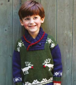 Children's Reindeer Sweater Free Christmas Knitting Pattern
