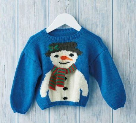 Children's Snowman Jumper Free Christmas Knitting Pattern