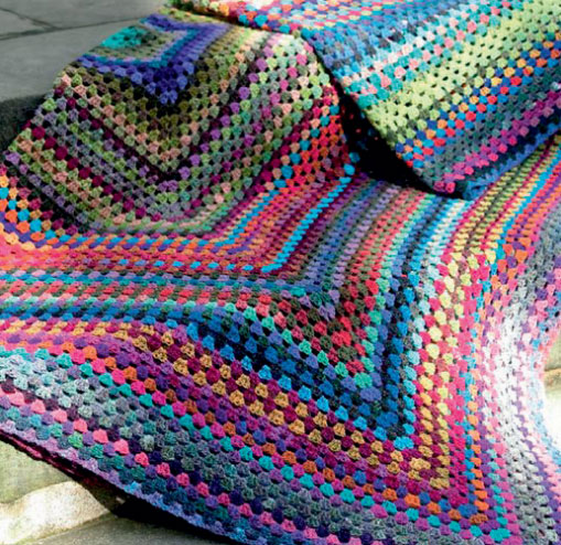 Crochet Blanket Large Granny Square in Noro Free Pattern