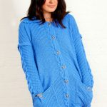 Diagonal and Cable Free Cardigan Knitting Pattern