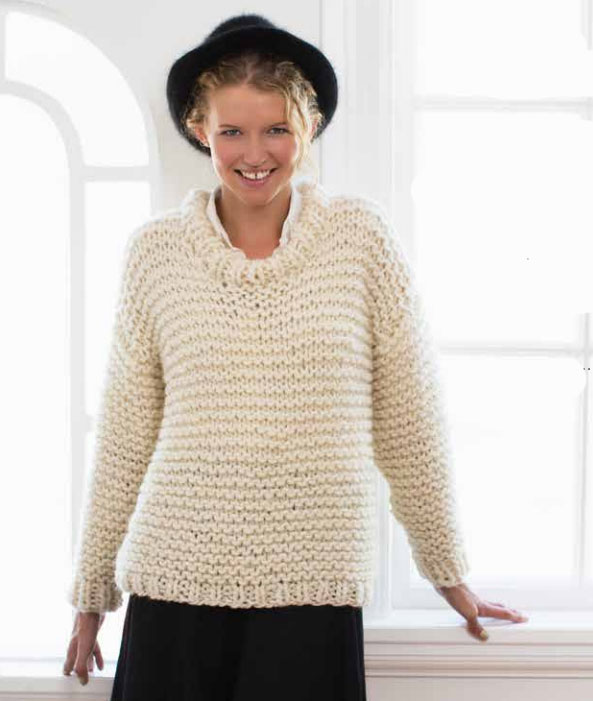 Easy Knitting Pattern For Sweater : Easy and Quick Chunky Knit Sweater Free Knitting Pattern ? Knitting Bee