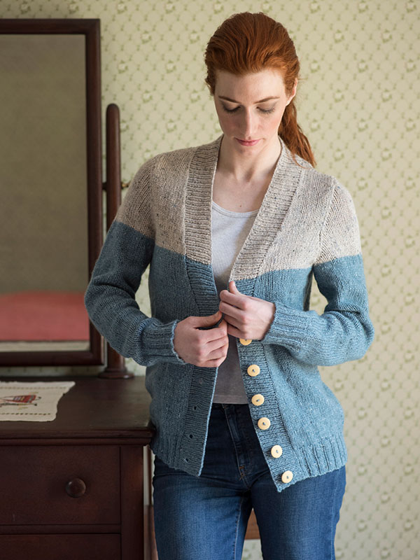 Estuary Two Toned Cardigan Free Knitting Pattern for Women