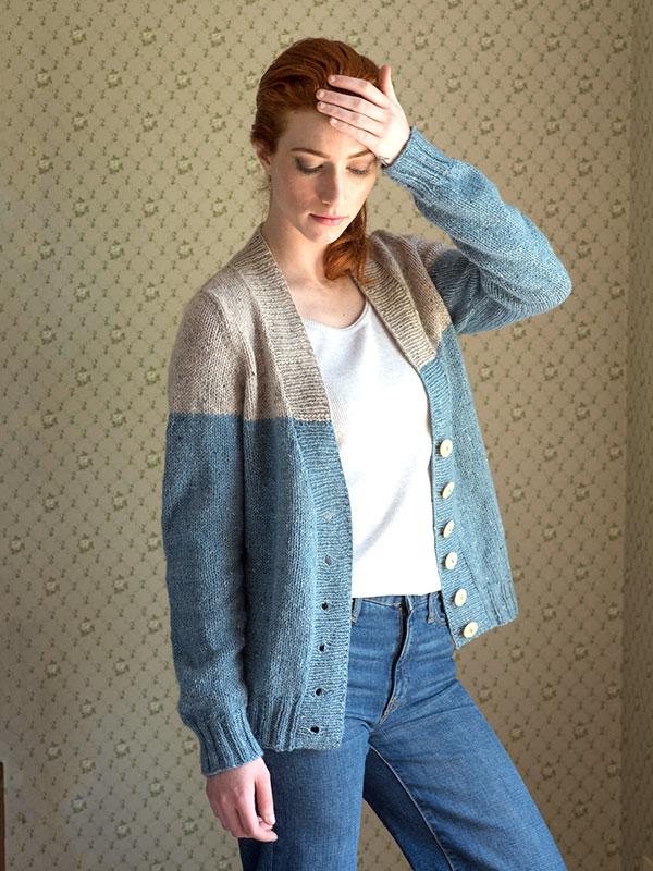 Estuary Two Toned Cardigan Free Knitting Pattern for Women