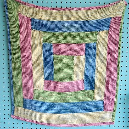 Free Four Colour Log Cabin Baby Blanket Pattern