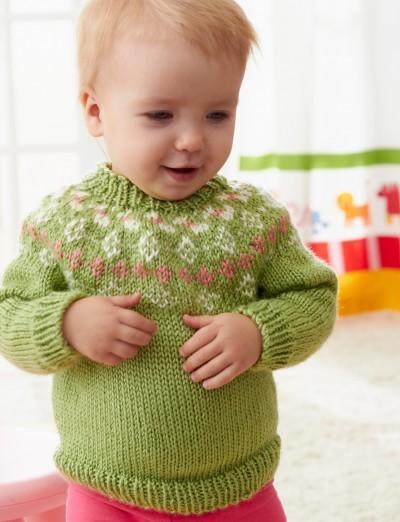 Girls' Garden Flowers Fair Isle Yoke Sweater Free Knitting Pattern