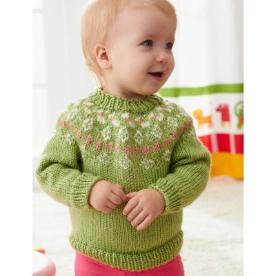 Girls' Garden Flowers Fair Isle Yoke Sweater Free Knitting Pattern