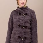 Jacket with High Collar Free Knitting Pattern.