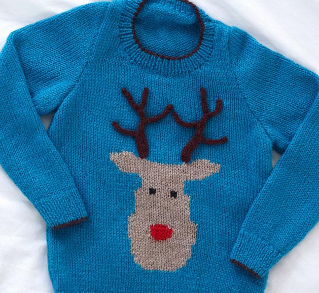 Kid's Reindeer Jumper Free Christmas Knitting Pattern