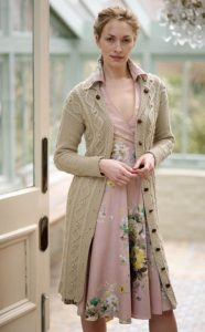 Long Aran Coat Free Knitting Pattern