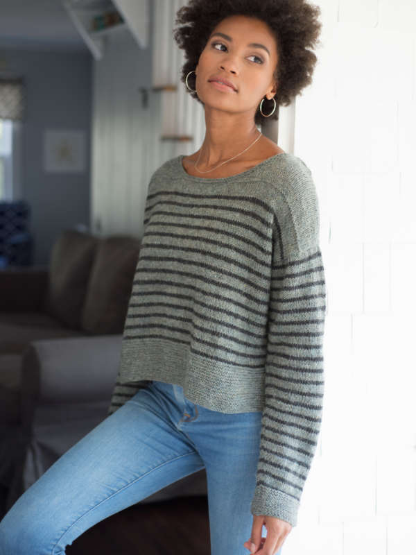 Parnell Striped Ladies Sweater Free Knitting Pattern ⋆ Knitting Bee