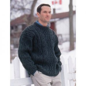 Patons Cabled Crew Neck Sweater Free Knitting Pattern for Men