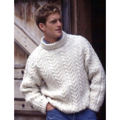 Patons Classic Raglan and Cable Men's Sweater Free Knitting Pattern