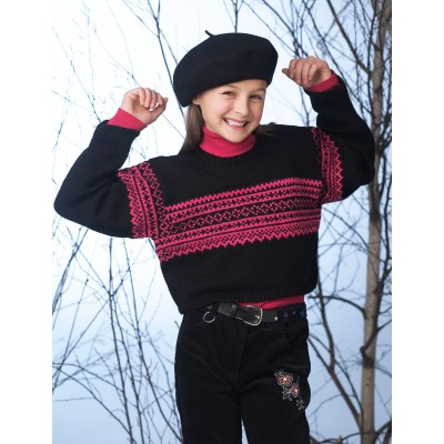 Patons Cropped Sweater with Norwegian Pattern Free Knitting