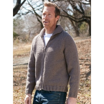 Patons Dads Zip Front Jacket Free Knitting Pattern For Men