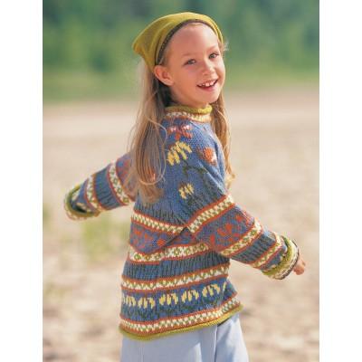 Patons Enchanted Garden Sweater Free Knitting Pattern for Girls