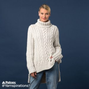 84107ada29a0 Patons Split Hem Cable Knit Pullover free knitting pattern