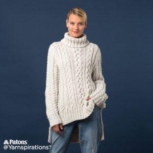 Patons Split Hem Cable Knit Pullover free knitting pattern