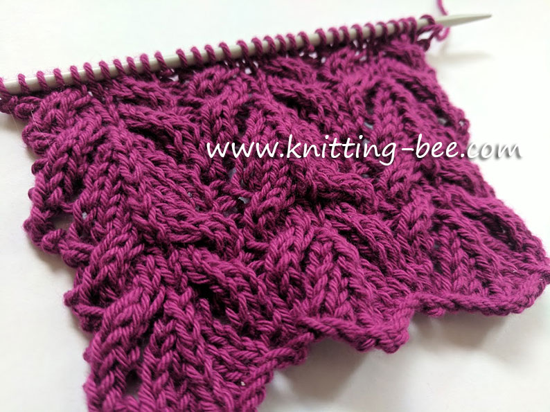 Pretty Lace and Cable Free Knitting Stitch free knitting stitch designed by Knitting Bee