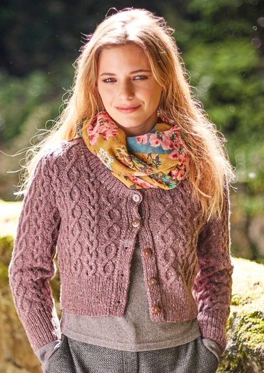 Skipness Cropped Aran Cardigan Free Knitting Pattern Knitting Bee
