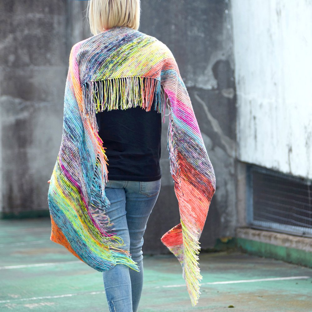 Flying Fringe Rectangular Scarf Free Knitting Pattern