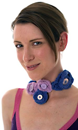Flower Headband And Necklace Free Knitting Pattern Knitting Bee