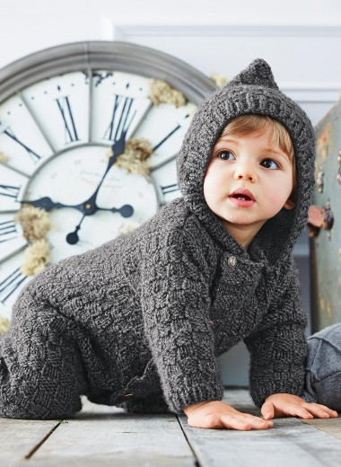 Hooded All-in-one Free Baby Knitting Pattern
