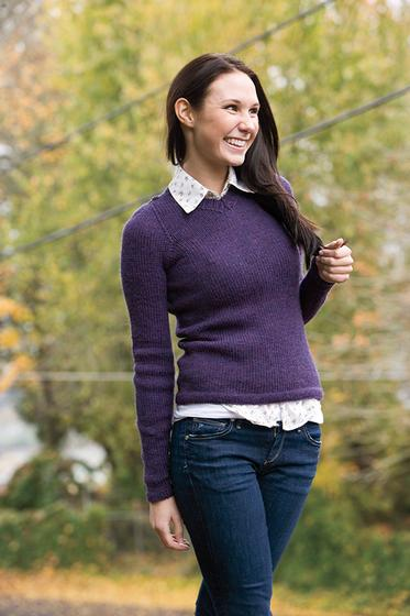 Basic V-Neck Pullover Free Knitting Pattern