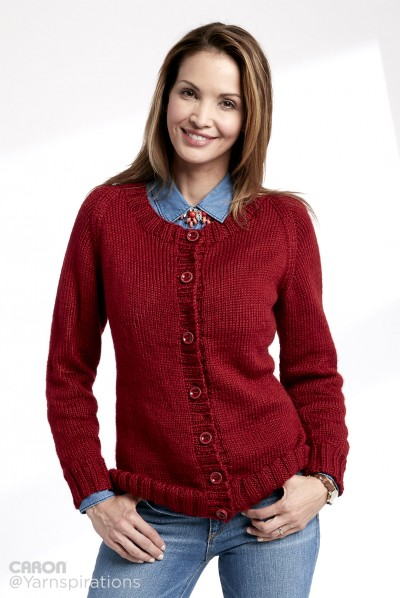 Adult Knit Crew Neck Cardigan Free Knitting Pattern