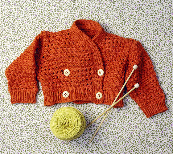 Blossom Double Breasted Baby Cardigan Free Knitting Pattern