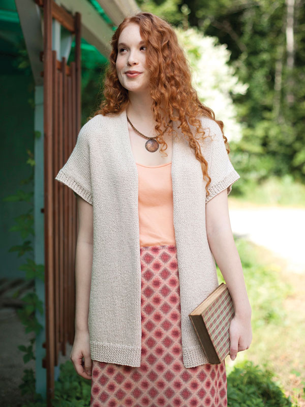 Classic short sleeved cardigan free knitting pattern