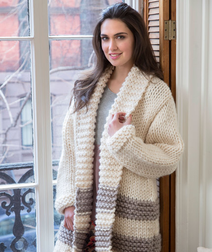 Cozy Car Coat Free Knitting Pattern