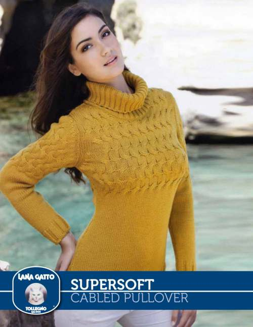Fitted Cabled Pullover with Turtleneck Free Knitting Pattern