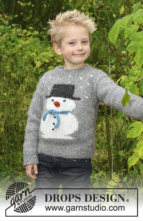 Frosty's Christmas Kids Sweater Free Knitting Pattern