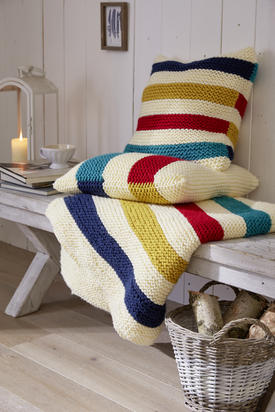 Garter Striped Pillow and Blanket Free Knitting Patterns