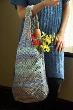 Knit Tote Market Bag Free Knitting Pattern
