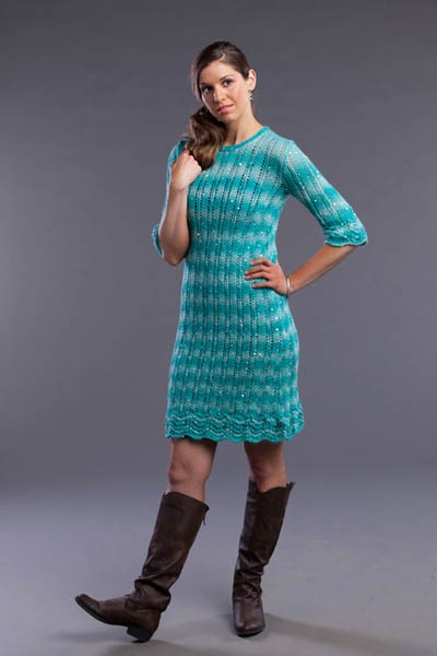 Lacy Columns Dress Free Knitting Pattern