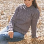 Leaf and Bobble Yoke Sweater Free Knitting Pattern
