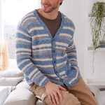 Man's Striped Cardigan Free Knitting Pattern