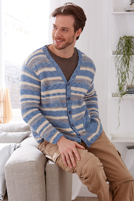 Man's Striped Cardigan Free Knitting Pattern