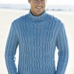 Men's Cabled Turtleneck Free Knitting Pattern