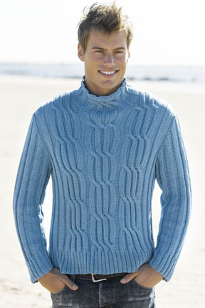 Men's Cabled Turtleneck Free Knitting Pattern