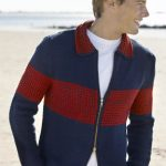 Men's Colorblock Zip Jacket Free Knitting Pattern