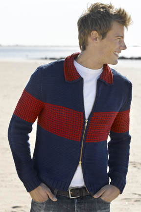 Men's Colorblock Zip Jacket Free Knitting Pattern