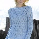 Openwork Boatneck Sweater Free Knitting Pattern