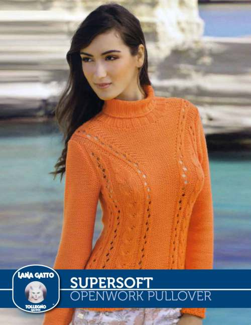 Openwork Pullover with Turtleneck Free Knitting Pattern